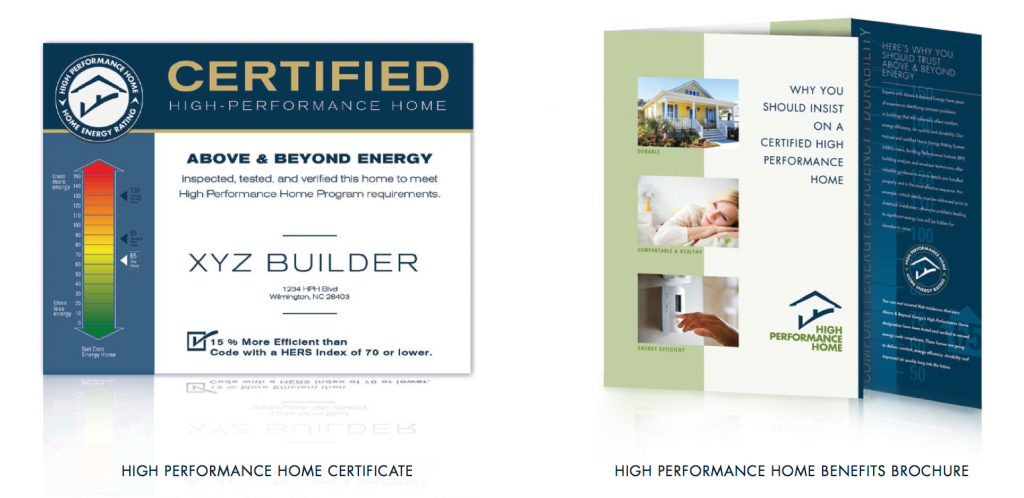 High Performance Home Certificate and Brochure